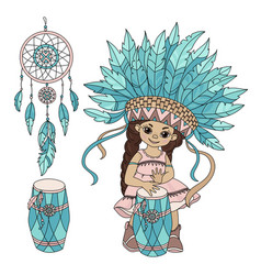 Pocahontas music indian princess hero illus vector