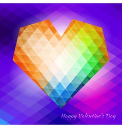 Polygonal heart on triangular background vector image