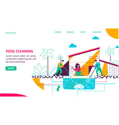 pool cleaning landing page flat template vector image