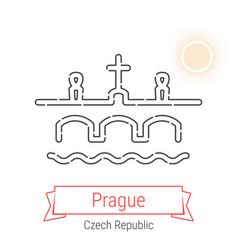 Prague czech republic line icon vector