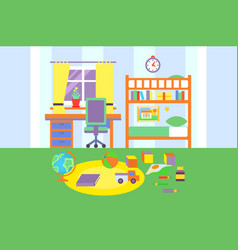 Preschool or school student boy room interior vector