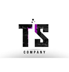 purple black alphabet letter ts t s logo vector image