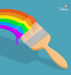 Raibow brush with rainbow paint vector