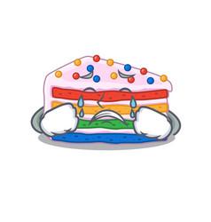 Rainbow cake cartoon character concept with a sad vector