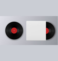 realistic vinyl record with cover mockup vector image