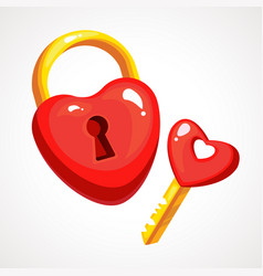 red heart lock and key vector image