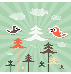 Retro Paper Forest and Birds vector image