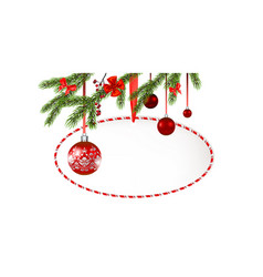 round frame christmas tree banner vector image