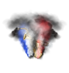 Saxophone and trumpet in smoke vector