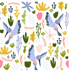 seamless childish pattern with colorful collibri vector image