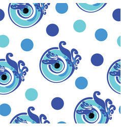 Seamless pattern with blue greek evil eye vector