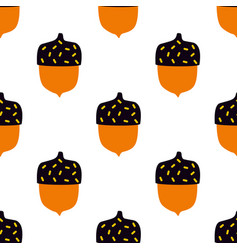 Seamless pattern with doodle acorns modern autumn vector