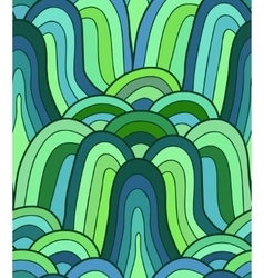 seamless wave background plants drawn vector image