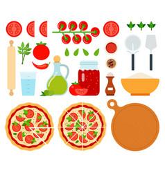 set margarita pizza icons flat vector image