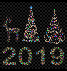 set of christmas trees digits 2019 and deer vector image