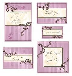 Set rococo wedding designs vector