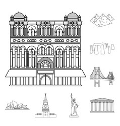 sights of different countries outline icons in set vector image