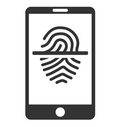 Smartphone fingerprint scanner flat icon vector