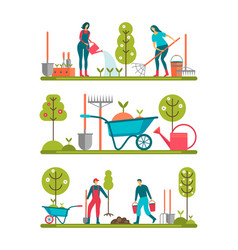 spring work set of people vector image
