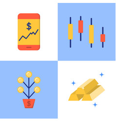 stock market icon set in flat style vector image