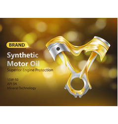 Synthetic motor oil ad banner realistic vector