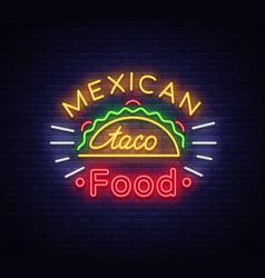 Taco logo neon sign on mexican food tacos vector