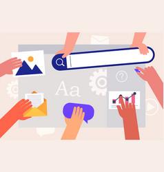 team people working on web site development hands vector image