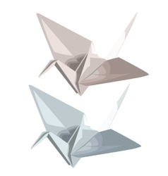 Two cranes of paper in origami style vector