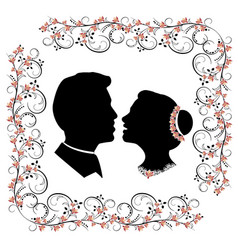 wedding silhouette with flourishes frame vector image