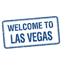 Welcome to Las Vegas blue grunge square stamp vector