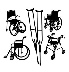 Wheelchairs Silhouettes vector