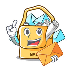 With envelope the bag with shape mail cartoon vector