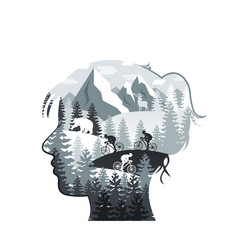 woman head with forest mountains animals vector image