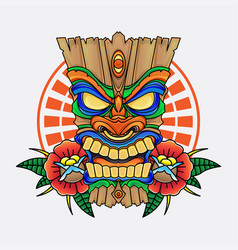 wooden tiki mask vector image