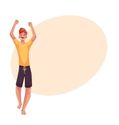Young barefooted african american man dancing vector