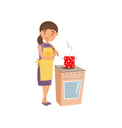 young woman in casual clothing and apron cooking vector image