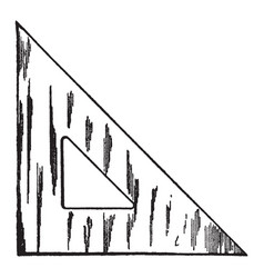 45 degree triangle straightedge or ruler vintage vector