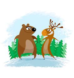 Bear and elk vector