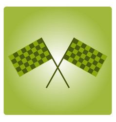 Crossed black and white checkered flags logo vector