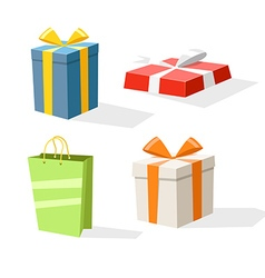 Different color gift boxes isolated on white vector image vector image