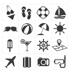 icons summer set vector image vector image