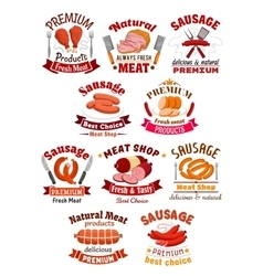 Meat product icon Pork ham and sausage vector image
