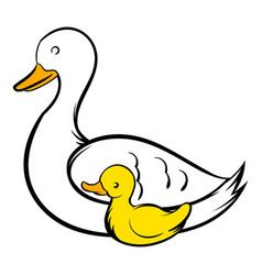 mother swan and cygnet icon icon cartoon vector image vector image
