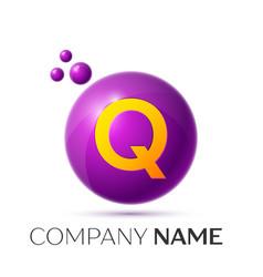 Q letter splash purple dots and circle bubble vector