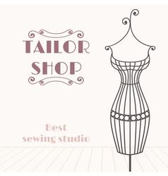 Vintage iron mannequin Tailor shop background vector image vector image