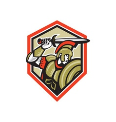 Centurion Roman Soldier Attacking Shield vector image vector image