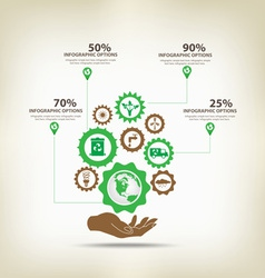 Infographic environment with gears vector