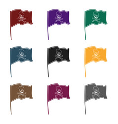 pirate flag icon in black style isolated on white vector image