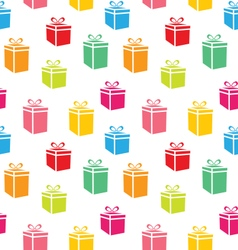 Seamless Pattern of Colorful Simple Gift Boxes vector image
