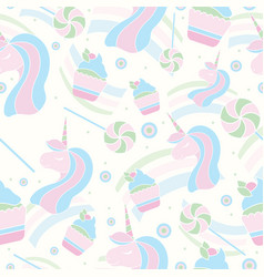 seamless pattern with unicorn lollipop and vector image vector image